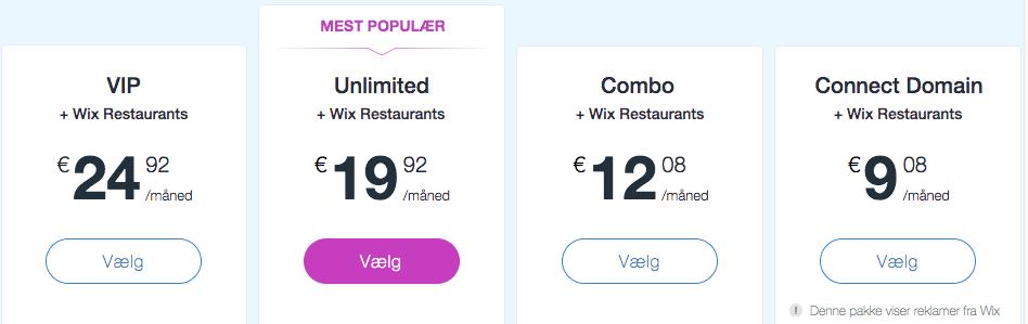 Wix priser